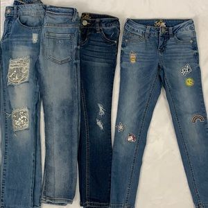 Girls SZ 7 Denim Jeans Lot Guess and Justice